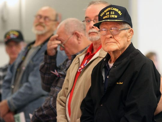 Dan Schroll of LaRue served on the USS North Carolina during World War II. Scholl was one of several veterans honored at the Elgin Elementary School's annual Veterans Day concert Monday.