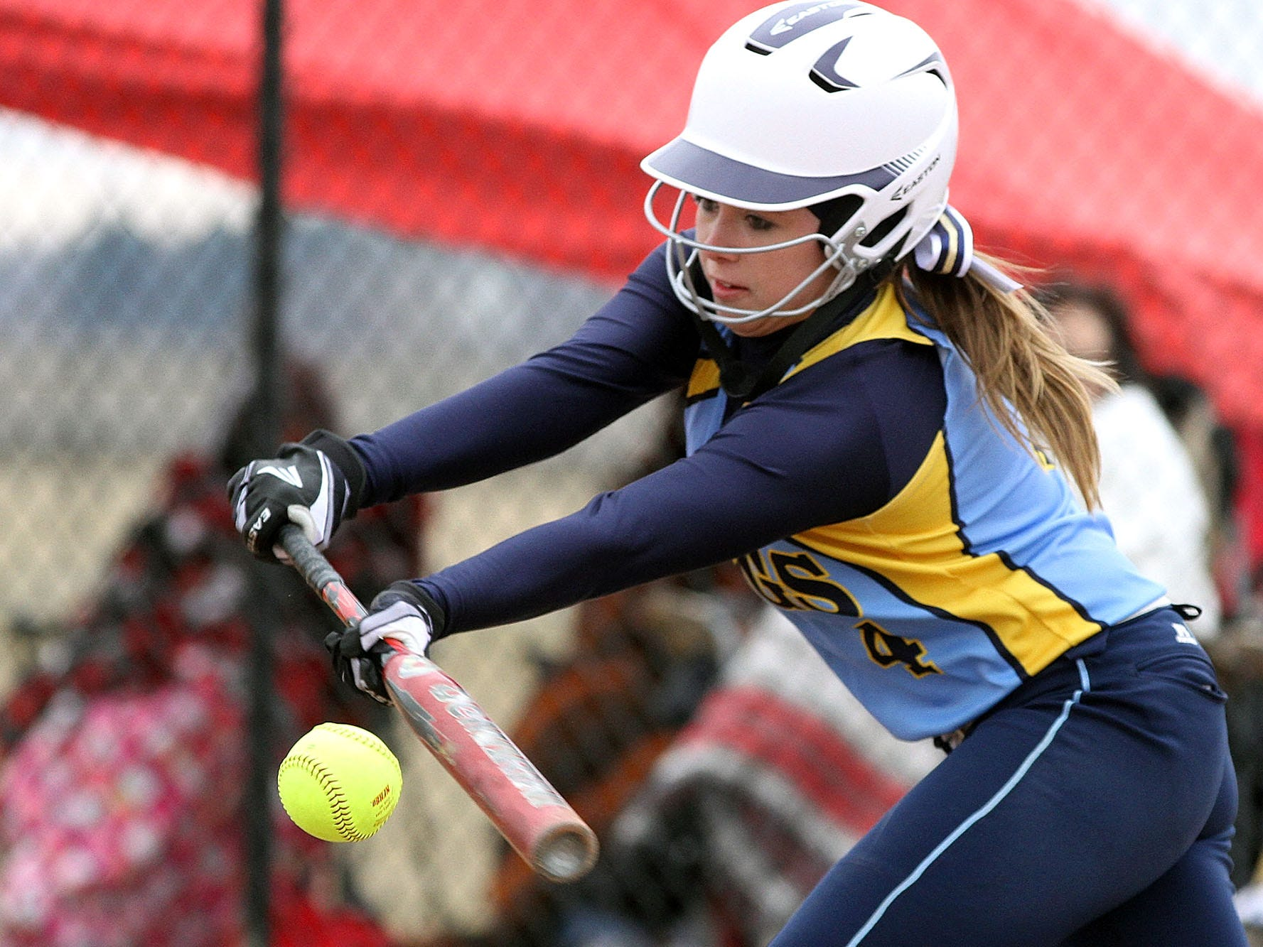 River Valley's Morgan Wit lays down a bunt attempt during a 4-1 victory over Shelby on March 31.
