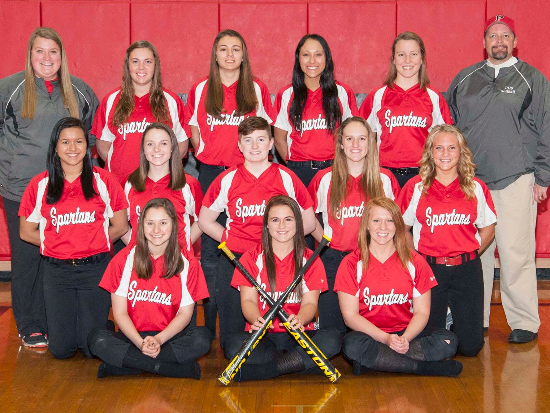 The Pleasant 2015 varsity softball team is, front row from left, Brooke Flickinger, Alli Decker and Georgie Stacy. Second row is Sara Kelly, Taylor Chase, Adriana Stanford, Catie Pelfrey and Arielle Anderson. Back row is coach Kendall Lust, Ashley Stone, Hannah McQuistion, Maria Curren, Abigail Russell and coach Bryan Decker.