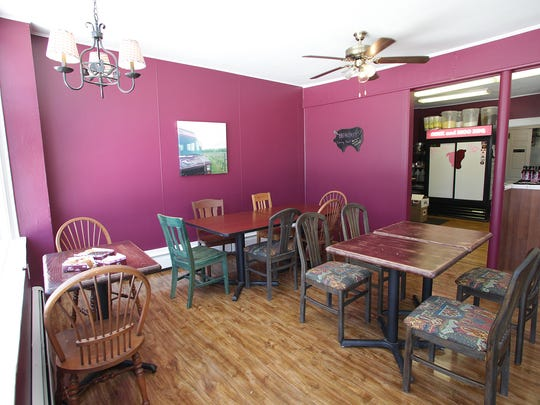 The dining room at Oink and Moo BBQ, Florham Park.