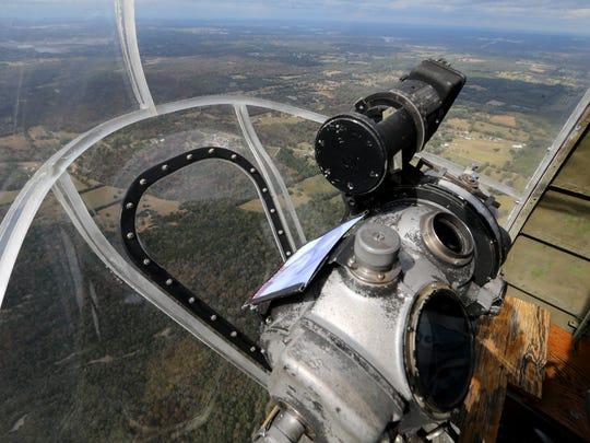 The view that would have been seen by the bombardier during a flight in a Boeing B-17  Memphis Belle, as seen on  flight over the Rutherford County and Davidson County areas, on Monday, Oct. 3, 2014.