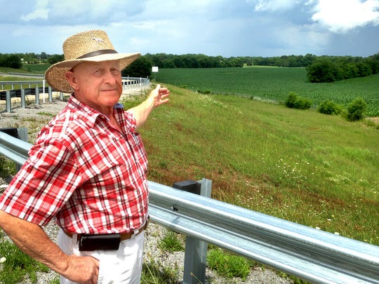 Donald McDonald shows off his property off Veterans Parkway and Interstate 840 in Murfreesboro's Blackman community.