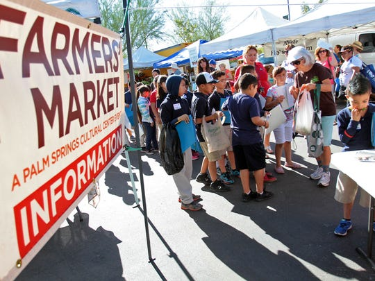 Cesar Chavez Elementary School students take a field trip to the Certified Farmers' Market in Palm Desert on Oct. 29.