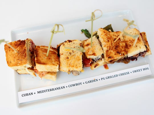 Six samples of sandwich melts are plated during a tasting event at Plate | Glass in Palm Springs, Calif. on Thursday, January 29, 2015. The restaurant held a VIP tasting to introduce media and other people to their menu.