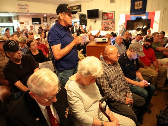 Indio resident Larry Turner stands at a veterans town hall in Desert Hot Springs on March 12, 2015, focusing on healthcare. Turner served during the Vietnam War. The event was hosted by Rep. Raul Ruiz and the medical director of the VA Loma Linda Healthcare System.