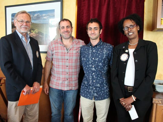 """New Paltz High School senior Kole Brownstein, second from right, a recipient of the New Paltz Rotary's """"Doing Good in the World"""" scholarship, is pictured with New Paltz Rotary scholarship committee chairman Jerry Rice, far left, his father David Brownstein and New Paltz Rotarian and scholarship committee member Sadia Bihi-Gilmour."""