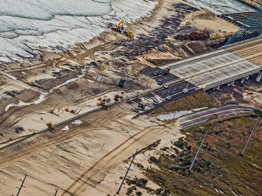 This image from Oct. 30, 2012, shows damage to the run-up to the Indian River Inlet Bridge after Superstorm Sandy.