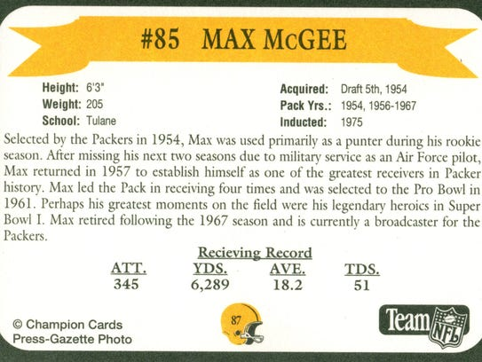 Packers Hall of Fame player Max McGee