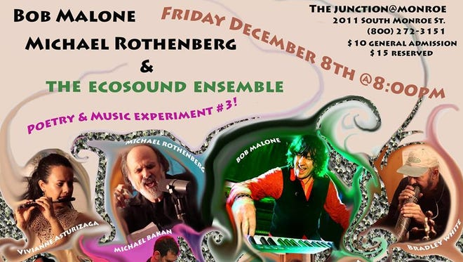 Promotional flyer for Bob Malone, Michael Rothenberg, and The Ecosound Ensemble coming to The Junction at Monroe on Dec. 8.