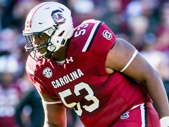 South Carolina Gamecocks offensive tackle Corey Robinson (53) against the South Alabama Jaguars in the second half at Williams-Brice Stadium.
