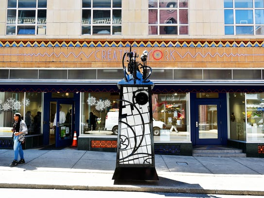 A new art installation, resembling a telephone booth,
