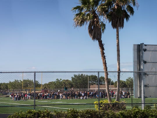 Hundreds of Gulf Coast students gather in their football