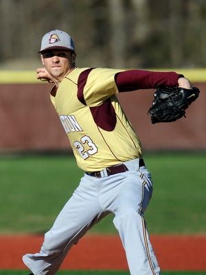 Arlington High School's Kyle Ackley pitches against Roy C. Ketcham on April 24 in Freedom Plains.