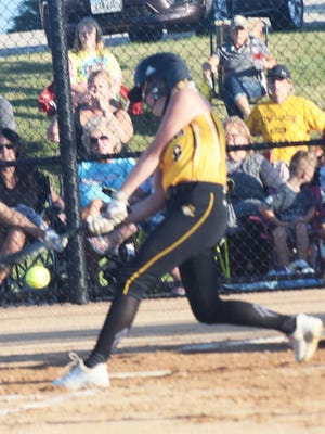 New London High School freshman pitcher Elly Manning gets a single during Monday's Class 1A regional final game against fourth-ranked Lynnville-Sully. Lynnville-Sully won, 5-0, to advance to the state tournament.