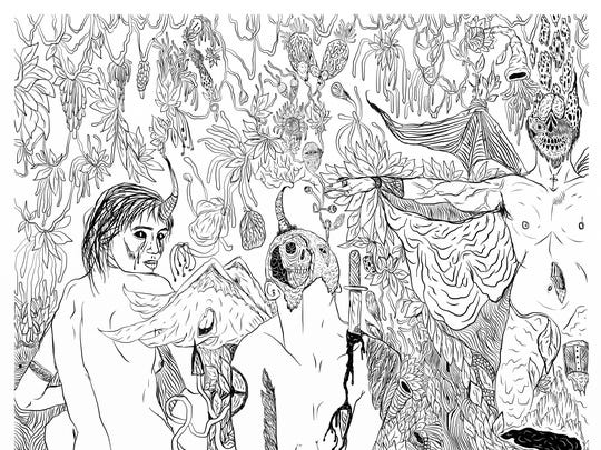 """Detail of """"The Witch's Birth,"""" one of many drawings by artist Thaniel Ion Lee in the exhibit New Cosmic Horrors"""" at Swanson Contemporary."""