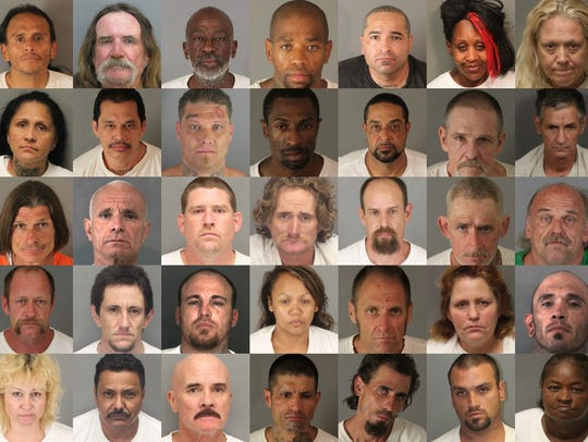 Fifty-five Riverside County repeat offenders, each