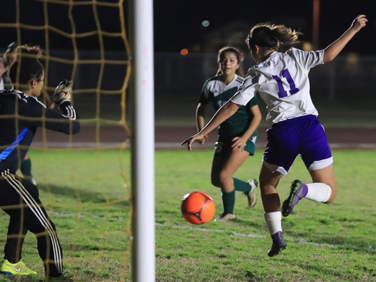 Mission Oak's Angelica Cervantes scores by deflecting