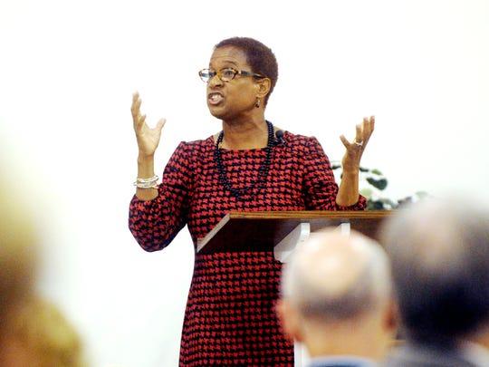 The Rev. Felicia Hopkins, seen giving her 2017 Holy Week sermon, will speak Thursday. The St. Paul UMC pastor soon will be leaving Abilene, so this is her final Holy Week address.
