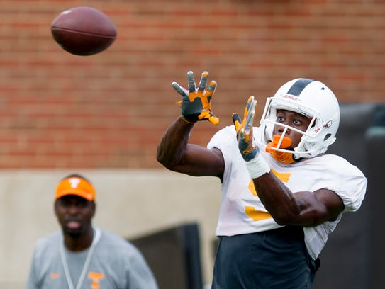 Tennessee's wide receiver Josh Palmer (5) lines up