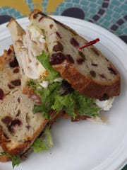 Turkey with brie and honey mustard sandwich prepared by chef Anna Diaz at the Red Hill Cafe in New City, photographed Sept. 8. 2015.