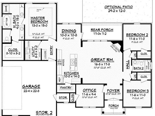 The efficient layout revolves around the open great room and kitchen, where a snack bar invites friends to sit and chat.