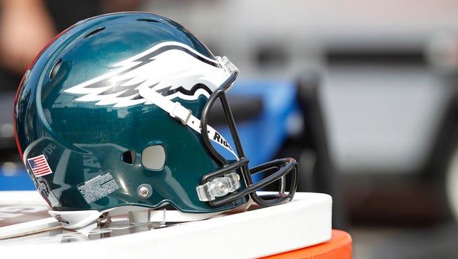 File: Philadelphia Eagles helmet on the sidelines.