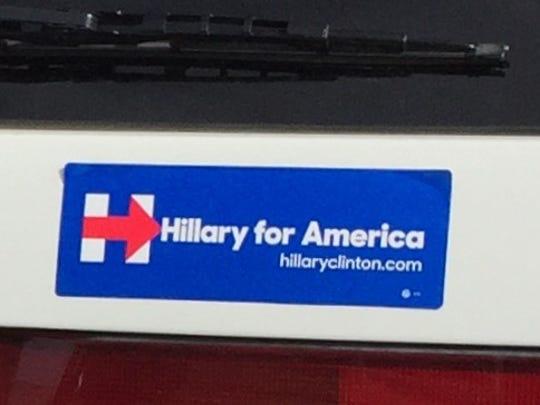 Hillary for America sticker on a Honda Odyssey seen in a parking lot in Desert Hot Springs on Jan. 18, 2016.