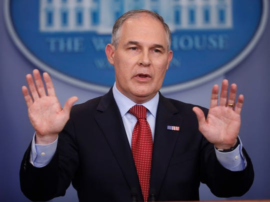 FILE - In this June 2, 2017, file photo, Environmental Protection Agency Administrator Scott Pruitt speaks to the media during the daily briefing in the Brady Press Briefing Room of the White House in Washington. Pruitt is set to speak privately to chemical industry executives next week during a conference at a luxury oceanfront golf resort. Pruitt is listed as the featured speaker at board meeting of the American Chemistry Council, a group that has lobbied against stricter regulations for chemical manufacturers. (AP Photo/Pablo Martinez Monsivais, File)