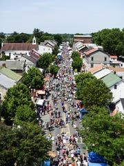 An aerial shot of the 2017 Historic Old Annville Days street fair.