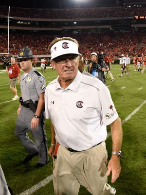 Sep 19, 2015; Athens, GA, USA; South Carolina Gamecocks head coach Steve Spurrier leaves the field after the game against the Georgia Bulldogs at Sanford Stadium. Georgia defeated South Carolina 52-20. Mandatory Credit: Dale Zanine-USA TODAY Sports
