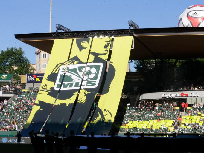 A tifo display is shown before the MLS soccer All-Star matc  between Bayern Munich and the MLS All-Stars, Wednesday, Aug. 6, 2014, in Portland, Ore. (AP Photo/Ted S. Warren)