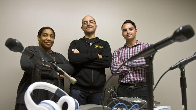 Asbury Park Press employees. Podcast team Felecia Wellington Radel, Alex Biese, and Al Mannarino. Neptune, NJ Wednesday, September 16, 2015 @dhoodhood