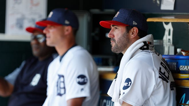 Justin Verlander sits in the dugout in the fourth inning of the Tigers' 11-8 loss to the Indians on July 2, 2017 at Comerica Park.