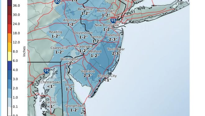 Your current snowfall projections from the National Weather Service.