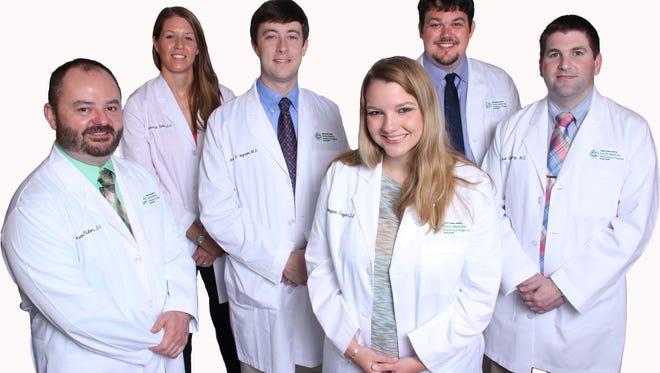 Left to right: Doctors Jason Fisher, Jessica Tullos, Jordan Ingram, Meagan Taylor, Judd Reynolds, Joshua Derryberry