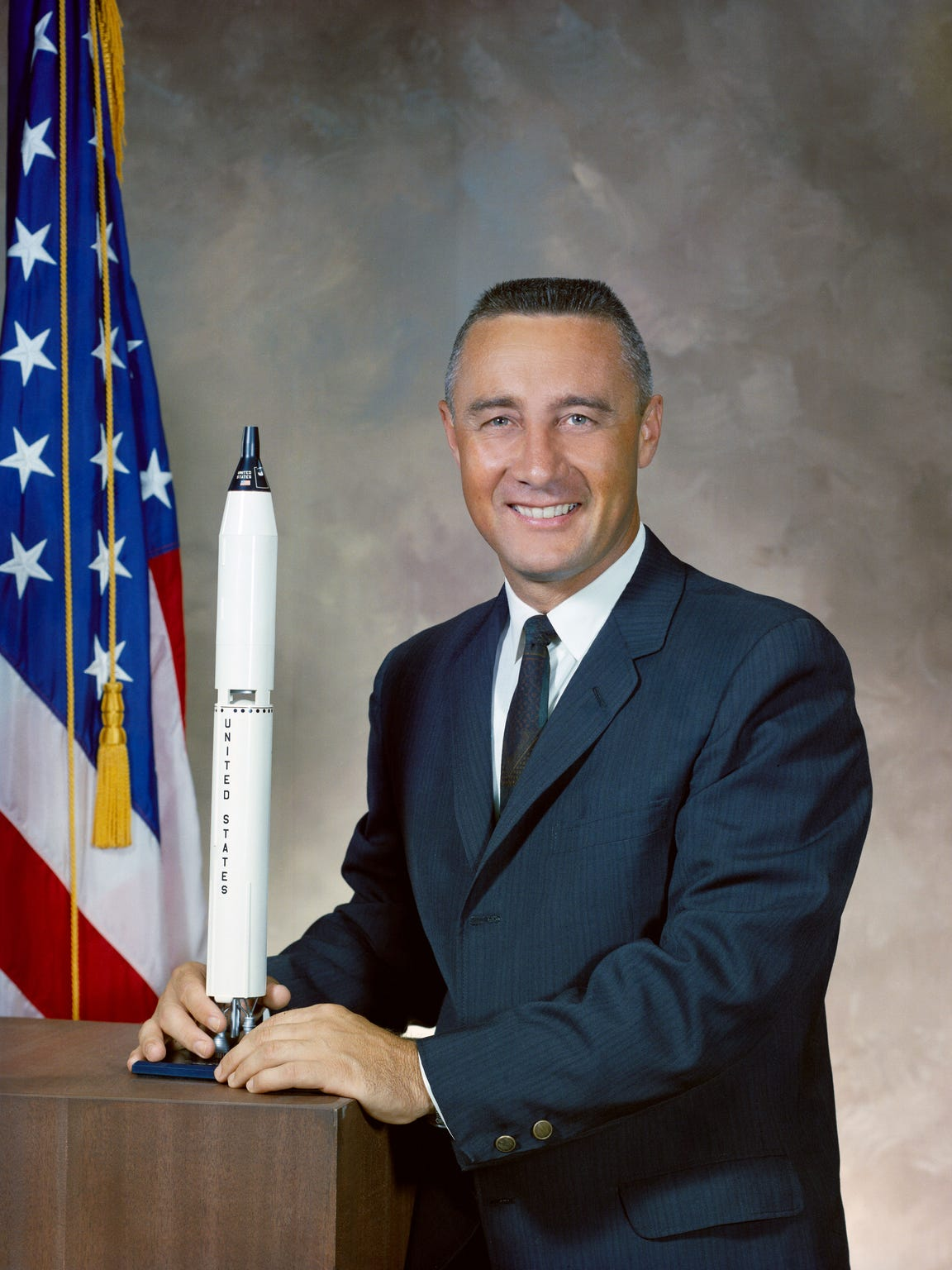 "Official NASA portrait of Virgil ""Gus"" Grissom, who"