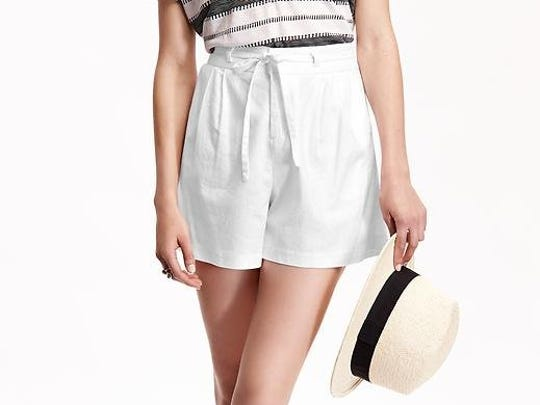 High-waist linen shorts, $26.94 at Old Navy. To check local availability or shop online: www.oldnavy.com.