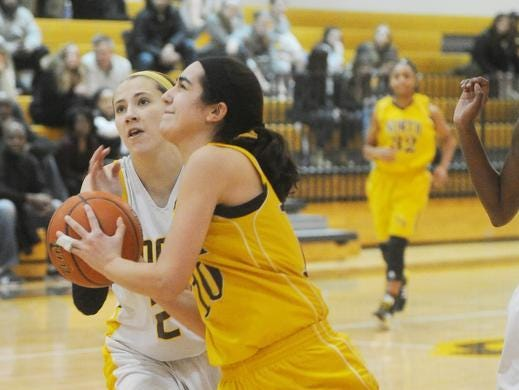 North Farmington junior Sophie Muller takes the ball to the basket in a game with Adams last season.