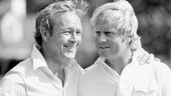 Golfing greats Arnold Palmer and Jack Nicklaus are shown on the course of Augusta National Golf Club in Augusta, Ga., on Wednesday, April 4, 1973 home of the Masters.     Both are hoping for victory in the first of four major golf championships. Presently, the two are tied with four Masters victories each. (AP Photo) ORG XMIT: APHS186388 [Via MerlinFTP Drop]