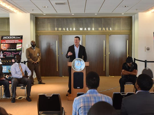 Ted DiBiase Jr., speaks during a press conference Thursday for the upcoming We Are Jackson concert series at Thalia Mara Hall in Jackson.