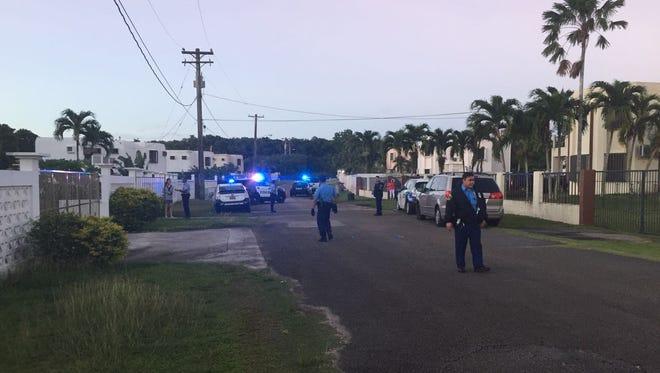 Police respond to Chalan Kareta in Dededo on Jan. 14, 2017.