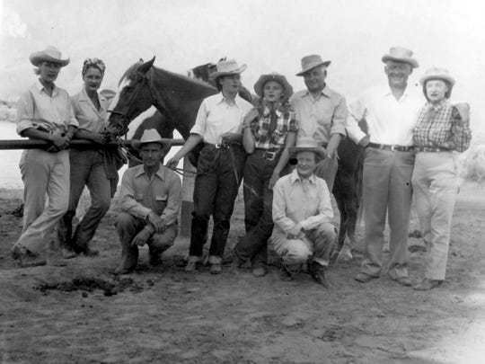 Melba and Frank Bennett join guests at Deep Well Guest Ranch, circa 1934.