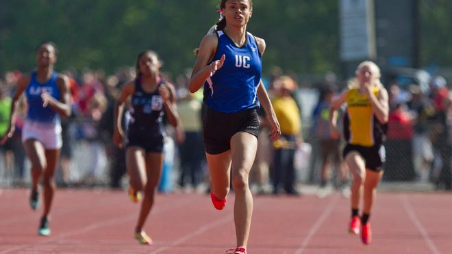Union Catholic freshman Sydney McLaughlin runs to victory in open 400 in 53.78, beating the field by nearly four seconds.