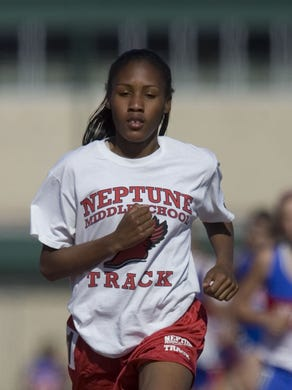 Shown here in eighth grade, Ajee' Wilson wins a race at the 2008 Shore Intermediate track meet.