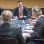 Rick Hall addresses fellow board members during the Board of Trustees meeting at Ball State Friday.