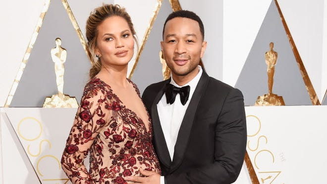 Chrissy Teigen and John Legend at the Academy Awards in Los Angeles on Feb. 28, 2016.
