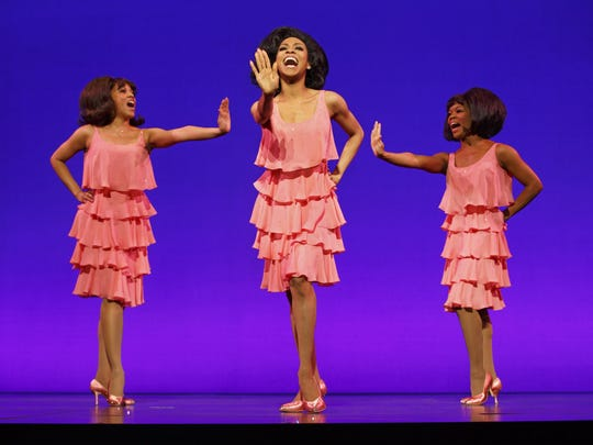 "The Supremes: Krisha Marcano as Florence Ballard, Allison Semmes as Diana Ross and Trisha Jeffrey as Mary Wilson in ""Motown: The Musical."""
