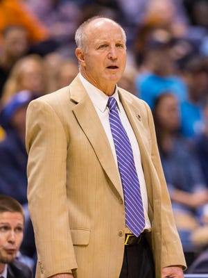 Nov 30, 2016; Milwaukee, WI, USA;  Western Carolina Catamounts head coach Larry Hunter during the first half against the Marquette Golden Eagles at BMO Harris Bradley Center. Mandatory Credit: Jeff Hanisch-USA TODAY Sports