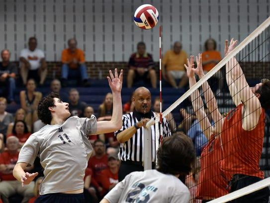Penn Manor's Sam Greenslade tips the ball against Hempfield