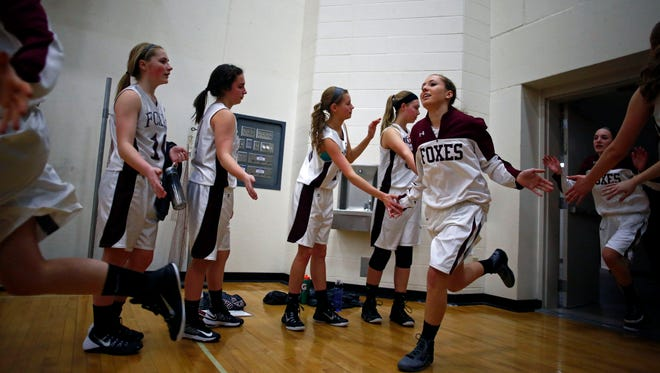 Fox Valley Lutheran takes the court before its Eastern Valley Conference girls' basketball game against Xavier on Jan. 8 at FVL.